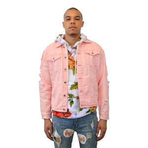 """Morning at Eden"" Pink Distressed Denim Jacket, from fashion label Zargara Season 7: ""Divine Souls of Eden"", Ottawa, Canada"