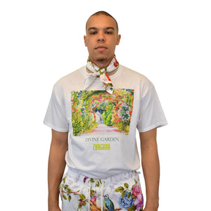 """Divine Garden"" White tee, from fashion label Zargara Season 7: ""Divine Souls of Eden"", Ottawa, Canada"