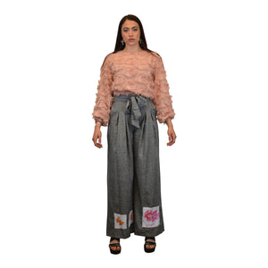 """of Eden Butterfly"" High Waisted Wide Leg Pants, from fashion label Zargara Season 7: ""Divine Souls of Eden"", Ottawa, Canada"