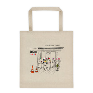 """Homies in Paris"" Canvas Tote Bag. Concept Art by Zargara Label from Ottawa, Canada, Paris Men's Fashion Week Jan 2019"