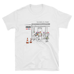 """Homies in Paris"" White tee by Zargara label, Ottawa, Canada, Concept Art, Paris Men's Fashion Week Jan 2019"