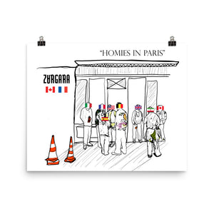 """Homies in Paris"" Print (8x10 to 24x36) (8x10 to 24x36) by Zargara label, Ottawa, Canada, Concept Art, Paris Men's Fashion Week Jan 2019"