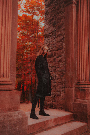 """Black Widow"" Wool Collarless Trench from Season 8 ""Inferno: From the Ashes"" by Zargara label"