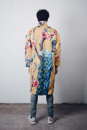 """Peacock Garden"" Neoprene Trench Coat, from fashion label Zargara, Ottawa, Canada"