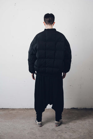 """Demon"" Quilted Black Bomber Jacket by Zargara Label"