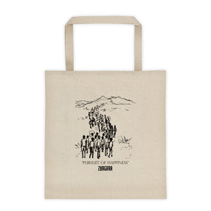 """Pursuit of Happiness"" Canvas Tote Bag. Concept Art by Zargara Label from Ottawa, Canada"