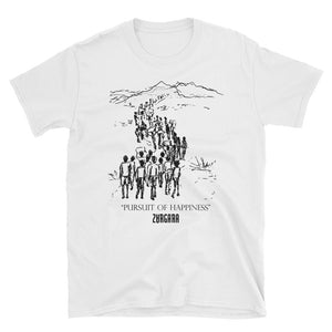 """Pursuit of Happiness"" White tee by Zargara label, Ottawa, Canada, Concept Art"