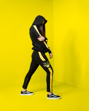 """It's Hunting Season"" Black w/ Yellow Stripe Joggers, Zargara Label, Ottawa Canada, 179 George St Flagship"