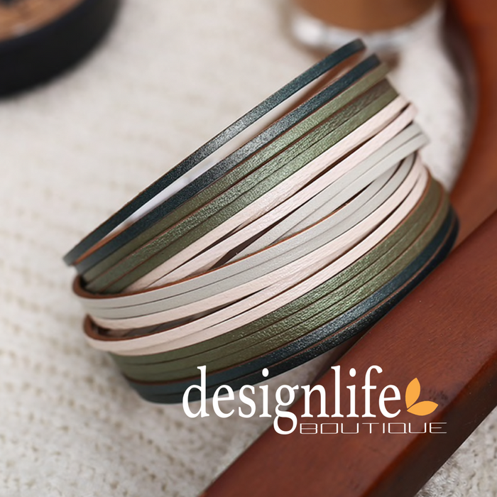 Leather Wrap Bracelet, Bohemian-Style Leather Wrap Bracelet