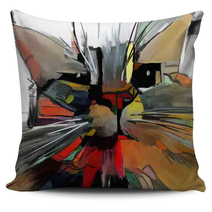 Abstract Cat Pillow #2 | Throw Pillow Covers | Cat Pillows | Abstract Cat Painting | Cat Decor |