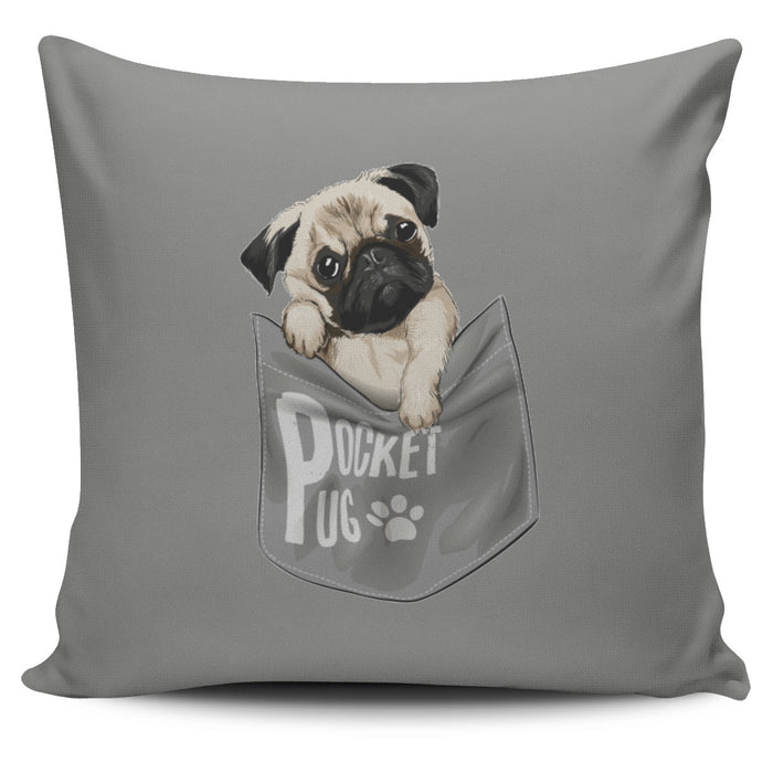 Pocket Pug Throw Pillow Cover