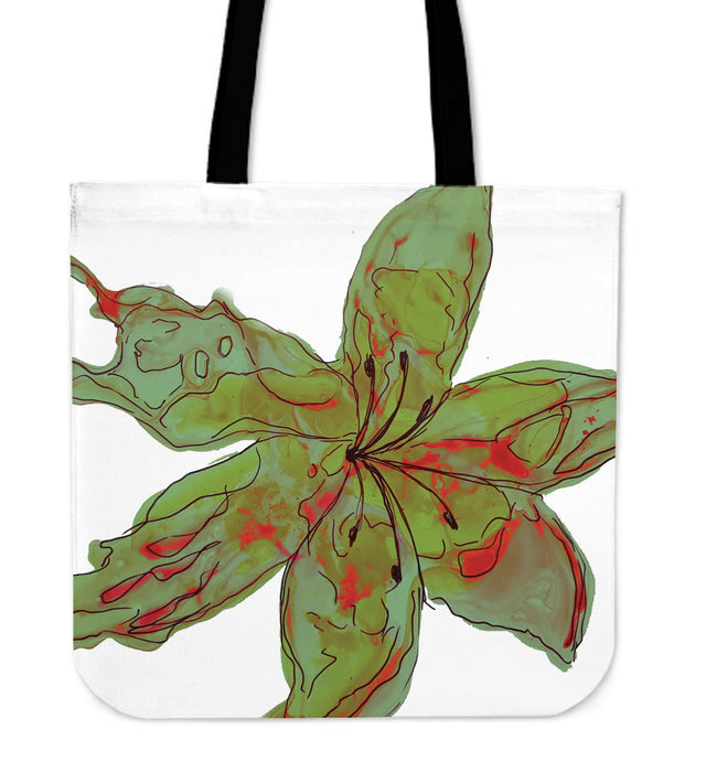 Sunset Lily Tote Bag - Green/Red