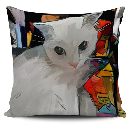 White Cat Pillow Cover