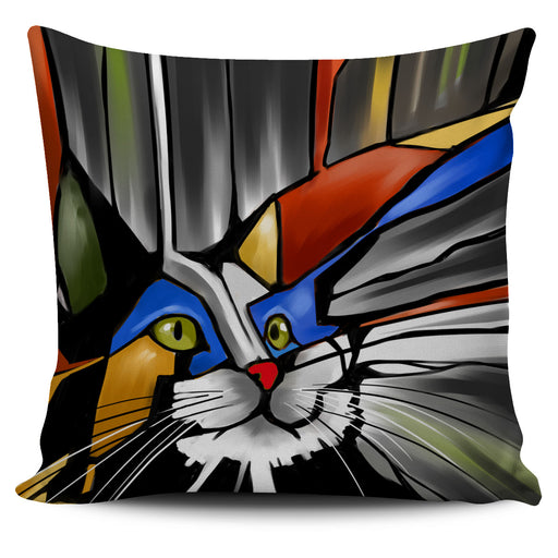 Abstract Cat Pillow #4 | Throw Pillow Covers | Cat Pillows | Abstract Cat Painting | Cat Decor |