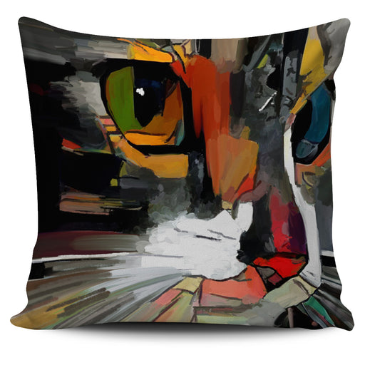 Abstract Cat Pillow #1 | Throw Pillow Covers | Cat Pillows | Abstract Cat Painting | Cat Decor |