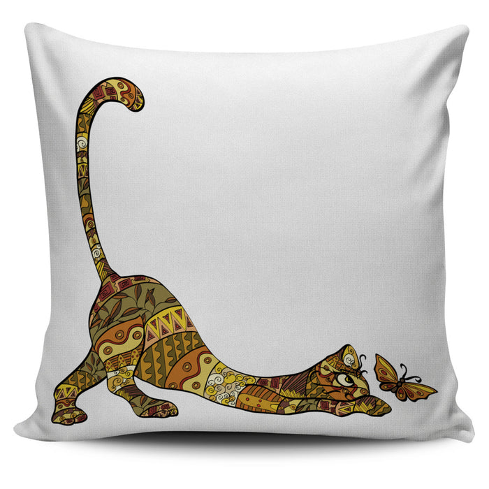 Cartoon Cat and Butterfly Throw Pillow Cover | Cat Pillow | Cute Throw Pillows | Cat Decor | Absract Cat Painting | Cat Lovers