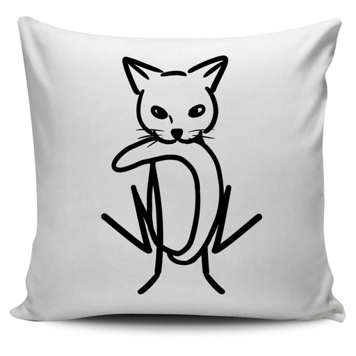 Abstract Cat Outline Throw Pillow Cover