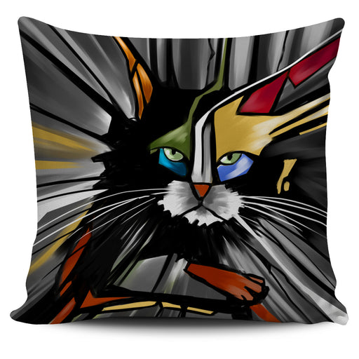 Abstract Cat Pillow #5 | Throw Pillow Covers | Cat Pillows | Abstract Cat Painting | Cat Decor |