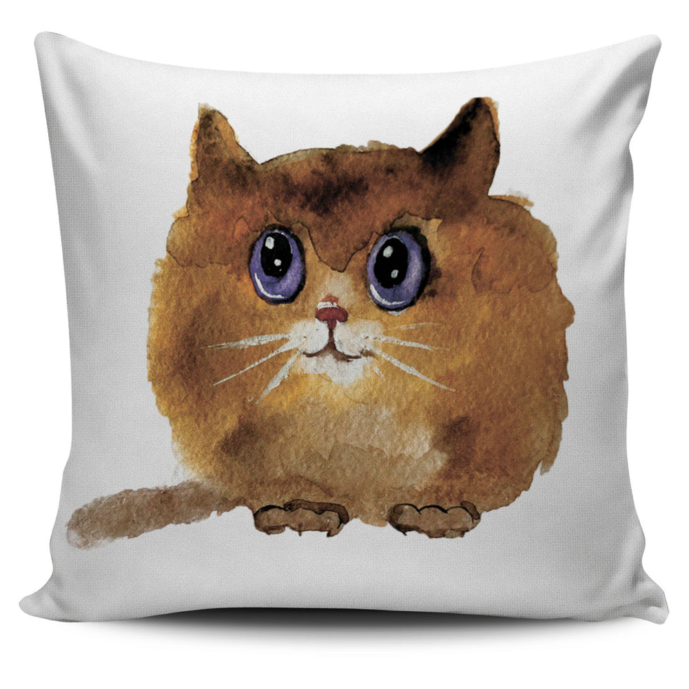 Chubby Cute Brown Cat Pillow Cover | Cat Pillow | Cute Throw Pillows | Cat Decor | Absract Cat Painting | Cat Lovers