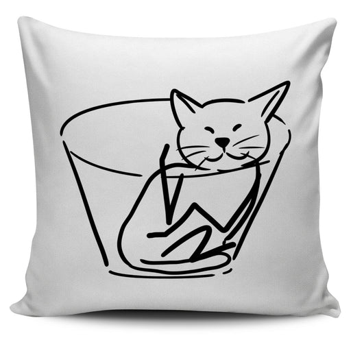 Chill Cat White Pillow | Cat Pillow | Cute Throw Pillows | Cat Decor | Abstract Cat Painting | Cat Lovers
