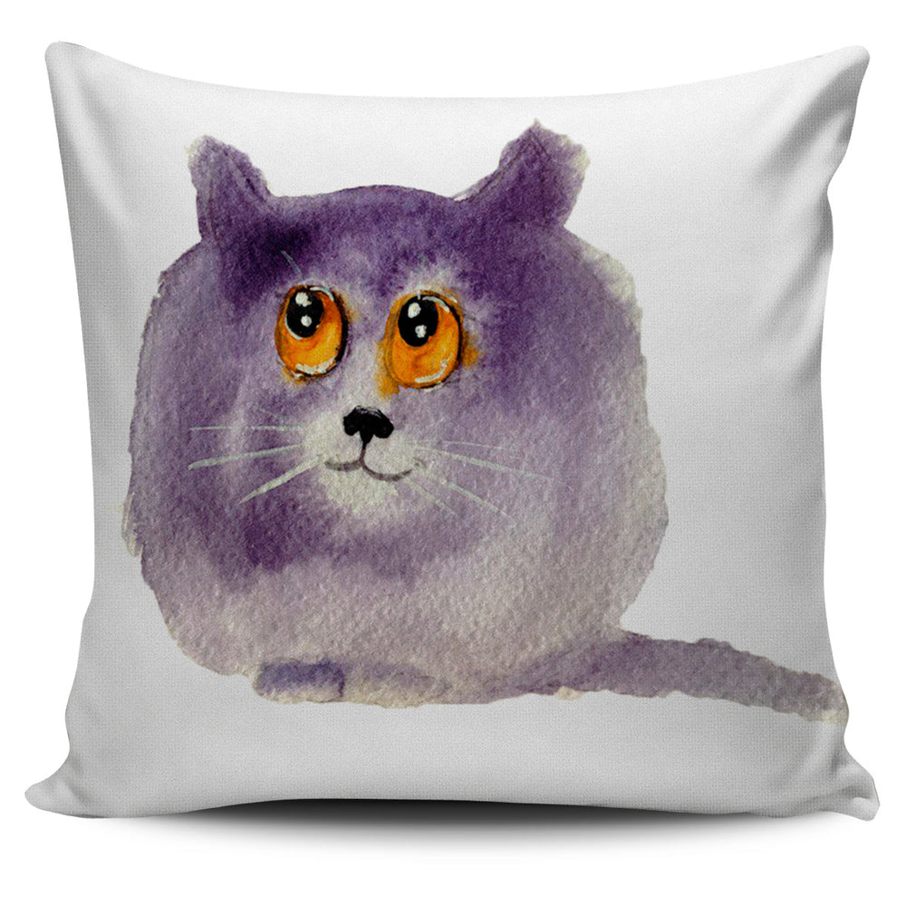 Cartoon Purple Cat Throw Pillow Cover | Cat Pillow | Cute Throw Pillows | Cat Decor | Absract Cat Painting | Cat Lovers