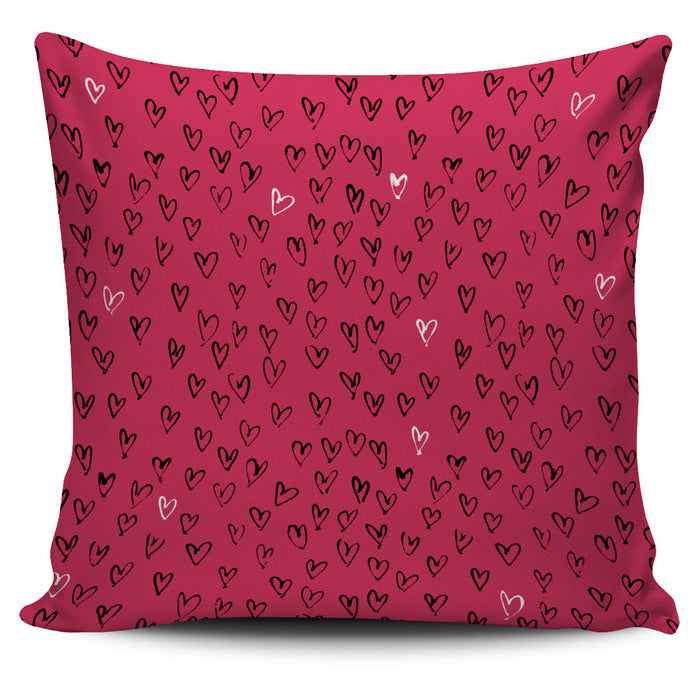 Pink Heart Pillow Cover