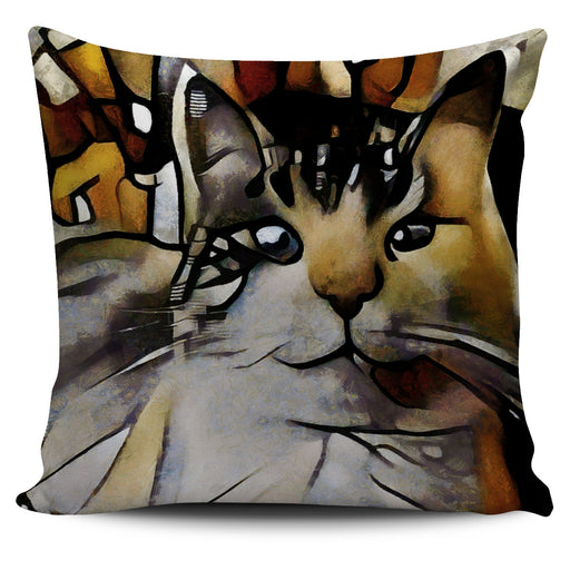 Abstract Cat Pillow #3 | Throw Pillow Covers | Cat Pillows | Abstract Cat Painting | Cat Decor |