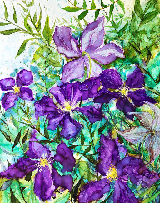 Purple Clematis Alcohol Ink Prints
