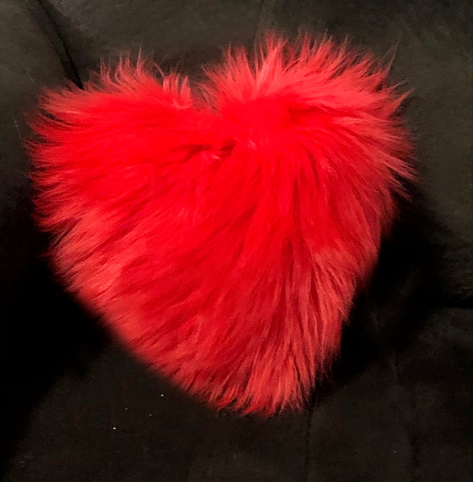 Red Faux Fur Heart Pillow
