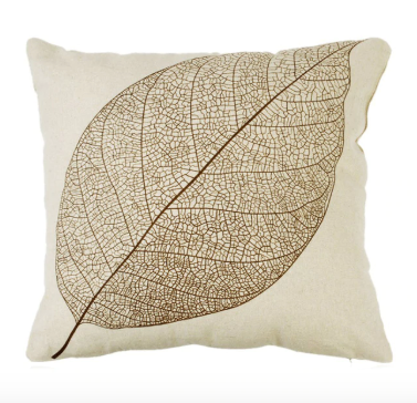 Contemporary Golden Leaf Pillow Cover