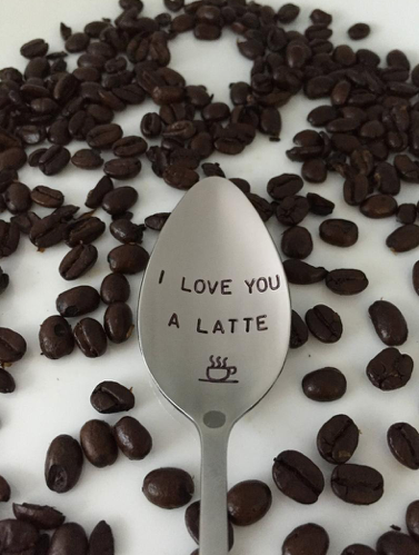 I Love You A Latte-Valentines Day Gift-Hand Stamped Spoon-Boyfriend Gift-Best Selling Item-Birthday-Gift Under 20