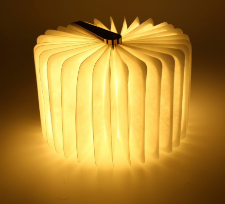 Foldable Wooden LED Book Lamp with USB Charger - Desk Lamp or Night Light