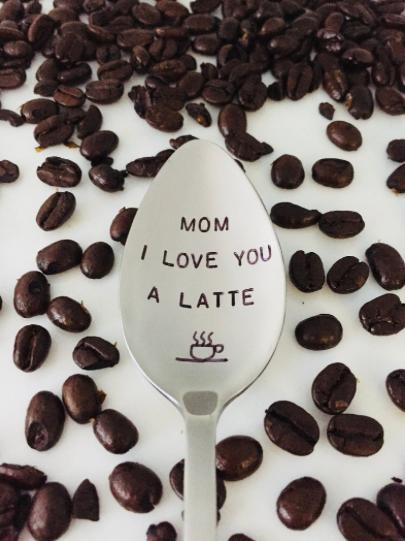Mom I Love You A Latte-Mother's Day Gift-Hand Stamped Spoon-Gift Under 20