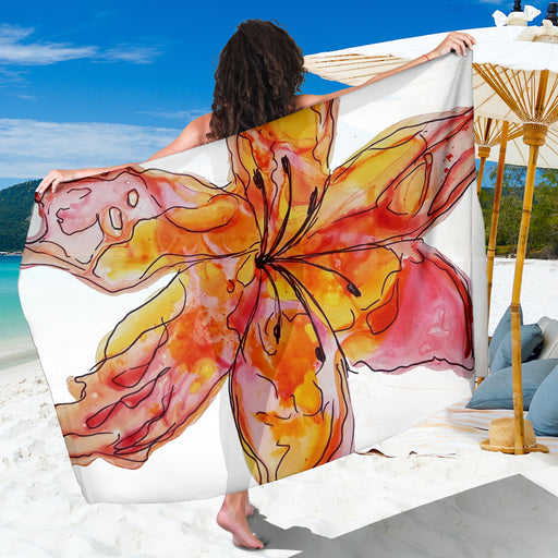 Sunset Lily Sarong - Beautiful, Sexy Summer Beach Coverup