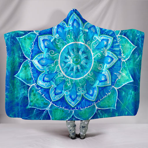 Blue Mandala Hooded Blanket | Cozy Blanket | Blanket Hoodie | Cozy Hooded Blanket | Mandala Blanket | Travel Blanket