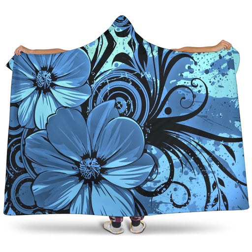 Deluxe Blue Floral Hooded Blankets  | Cozy Blanket | Blanket Hoodie | Cozy Hooded Blanket | Mandala Blanket | Travel Blanket