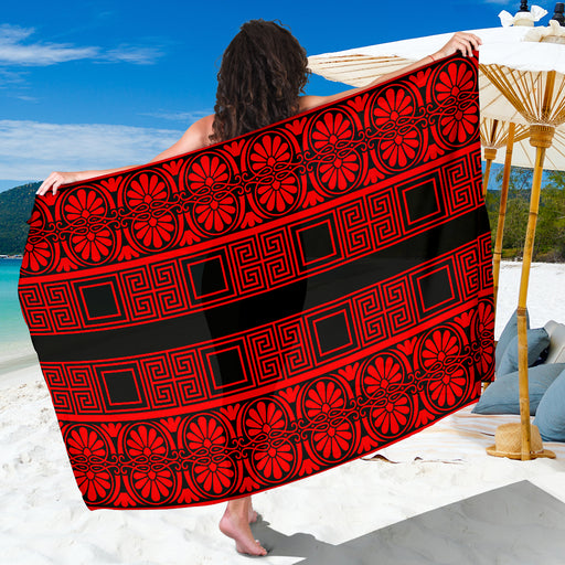 Sarong Red and Black Sarong | Sarong Cover Up | Sarong Wrap | Beach Sarong | Beach Wrap Skirt | Pareo | |