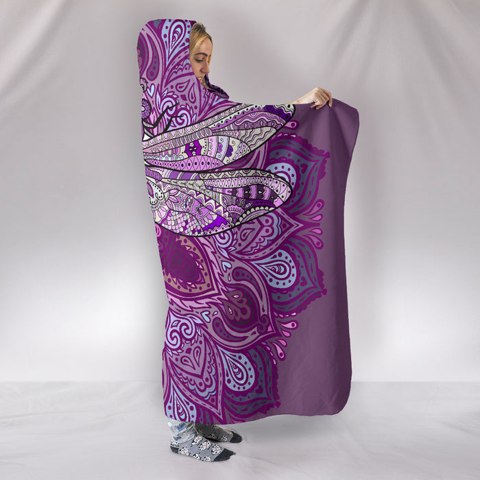 Purple Dragonfly Mandala Hooded Blanket - Blanket Hoodie