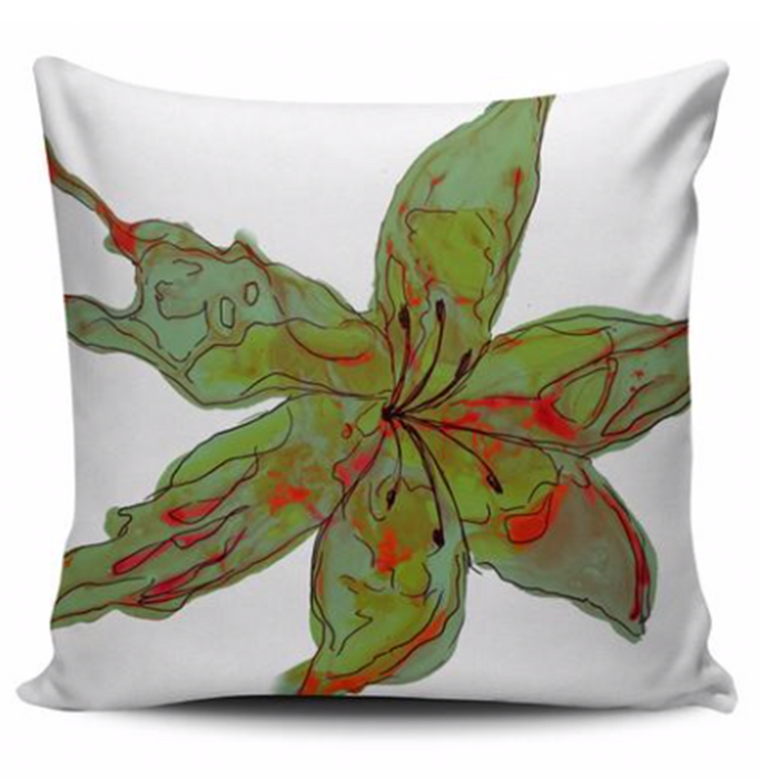 Sunset Lily Throw Pillow Cover - Pink/Orange