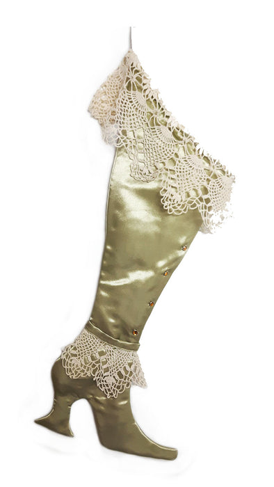 The Green Victorian Lace Christmas Stocking - Limited Edition