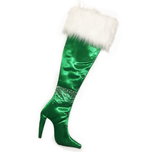 Luxury Christmas Stocking, Boot Christmas Stocking, High Heel Christmas Stocking, Green Satin with Bling, Fancy Stiletto Christmas Stocking