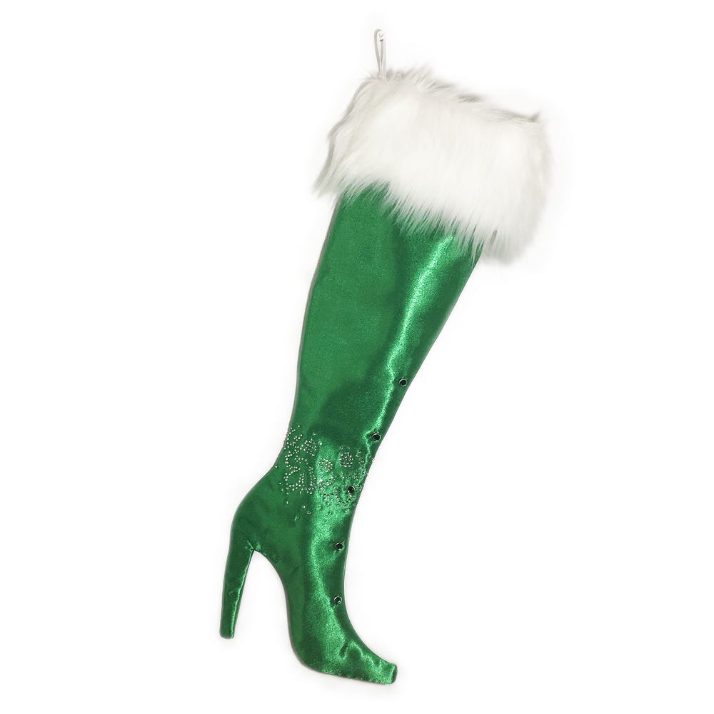 Luxurious Green Satin Stiletto Boot Christmas Stocking with Ankle Bling
