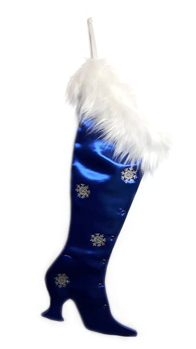 Luxury Christmas Stocking, Satin Christmas Stocking, Precious Gems - Blue Sapphire Victorian Christmas Stocking