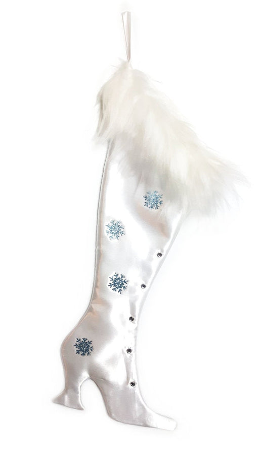 Luxury Christmas Stocking, Satin Christmas Stocking, Precious Gems - White Opal Victorian Christmas Stocking