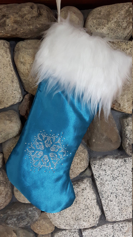 Luxury Christmas Stocking, Satin Christmas Stocking, Royal Luxe Teal Christmas Stocking