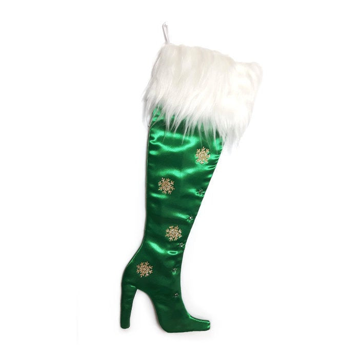 Luxury Christmas Stocking, High Heel Christmas Stocking, High Heel Stocking, Precious Gems - Green  Emerald Stiletto Boot Christmas Stocking