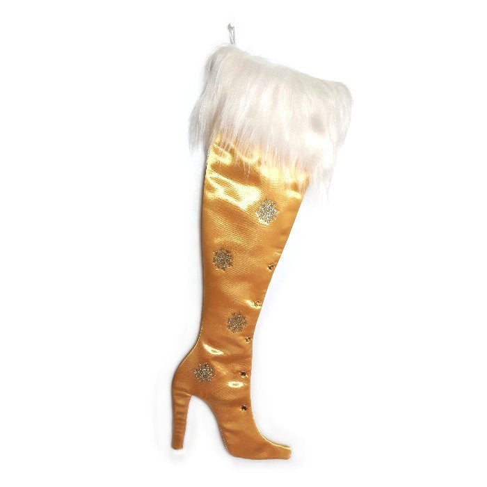 Luxury Christmas Stocking, Satin Christmas Stocking, High Heel Christmas Stocking, Precious Gems - Gold Topaz  Stiletto Christmas Stocking