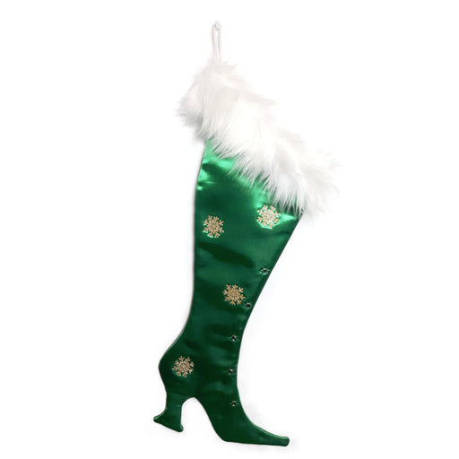 Precious Gems - Green Emerald  Victorian Christmas Stocking, High-heel Christmas Stocking, Xmas Stocking