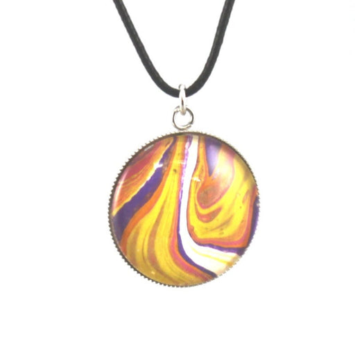 Abstract Art Pendant Necklace, Wearable Art Jewelry, Fluid Art Pendant, Acrylic Paint Pour Jewelry . Galaxy Necklace. Abstract Art Pendant