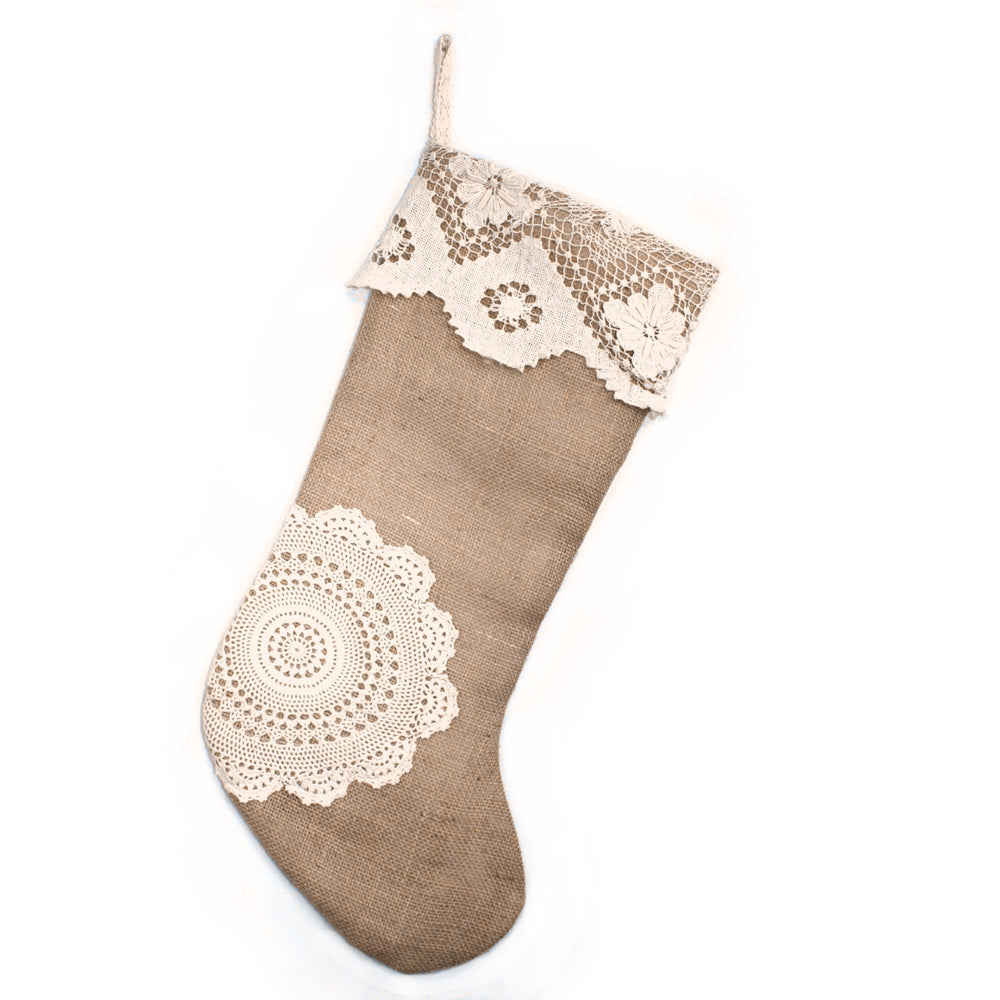 Limited Edition - Luxury Christmas Stocking, Burlap with Antique Doily Applique, Vintage Doily Christmas Stocking, Textured Xmas Stocking
